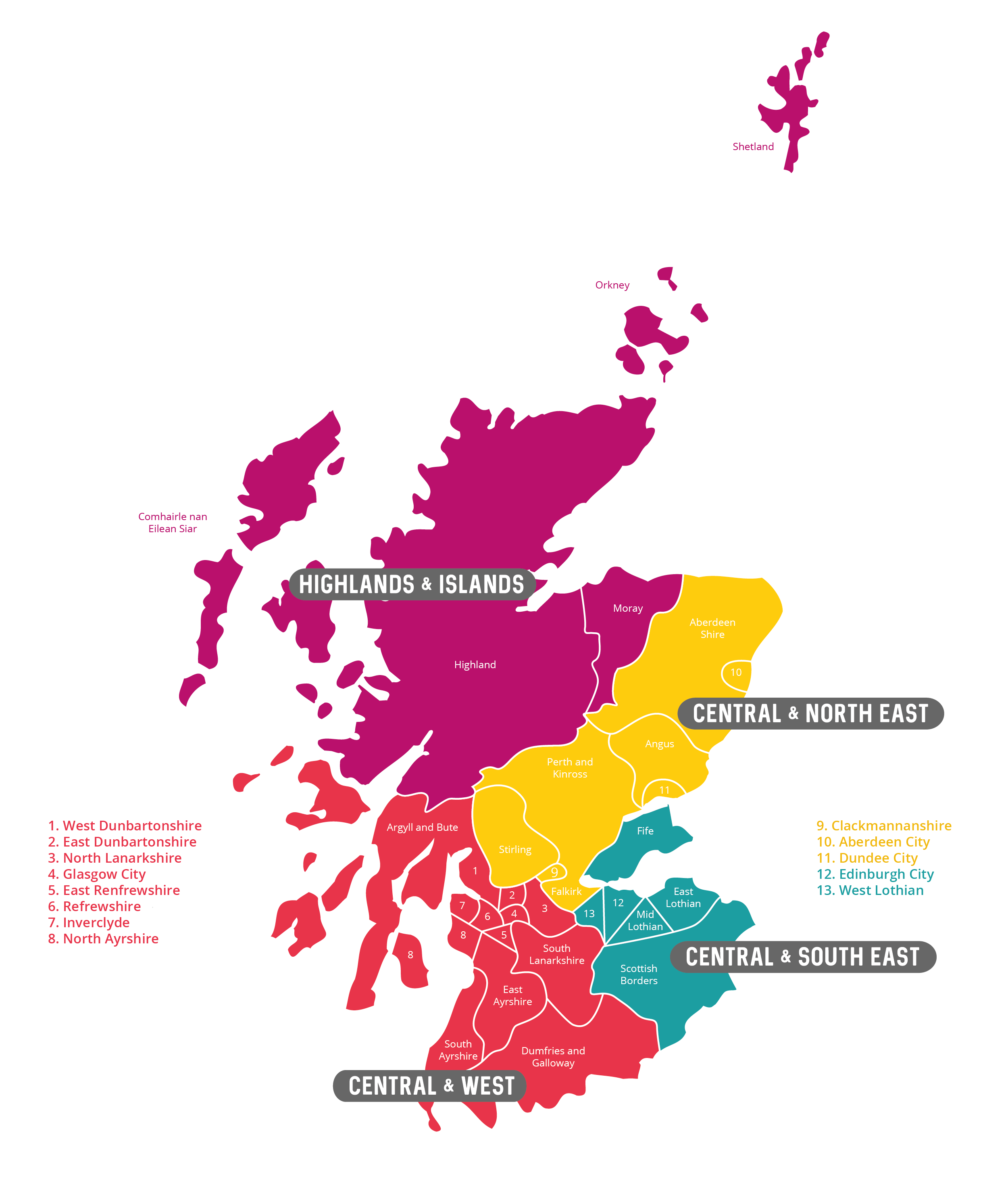 Local Authorities Map Scotland Education 2019 Detail